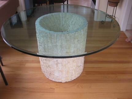 Round Glass Travertine Dining Table Mona Vale Pittwater Area Preview