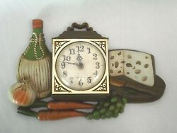 Vintage Burwood Clock Wall Hanging 1973 wine cheese grapes WORKS!