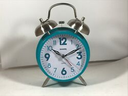 Sharp Twin Bell Quartz Analog Alarm Clock W/Touch Activated Back Light - Teal