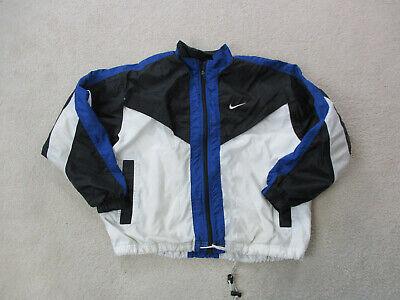 VINTAGE Nike Jacket Adult Medium Black Blue Swoosh Spell Out Coat Mens 90s A15*
