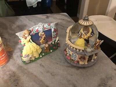 Rare Disney Beauty and the Beast Musical Snow Globe Rose Garden W/Picture Frame