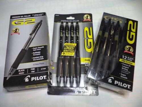 12 Pilot G-2 Retractable Gel Pens Fine Point 0.7 mm  07 Black INK 31020 31136