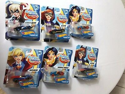 HOT WHEELS DC COMICS SUPERHERO GIRLS SUPERGIRL, HARLEY VEHICLE **LOT OF  6 ***  - Hot Superhero Girls