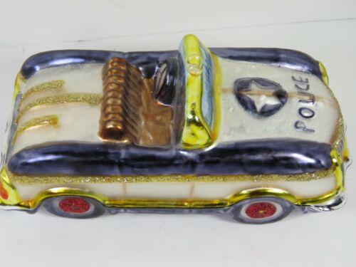 Blown Glass Police Car Christmas Ornament  Glitter A4669