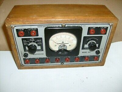 Vintage Radio City Products Co. Multimeter Model 447 Ohm Volt Meter Wooden Box