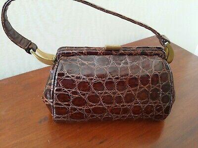 1940s Handbags and Purses History Vintage Genuine Crocodile Leather Purse Brown 1940's Mint condition!! $99.00 AT vintagedancer.com