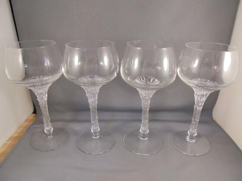 """4 Rosenthal Crystal Split Wine Goblets 6 7/8"""" Excellent"""