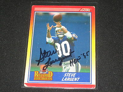 (STEVE LARGENT 1990 SCORE STAR LEGEND HAND SIGNED AUTOGRAPHED NFL FOOTBALL CARD)