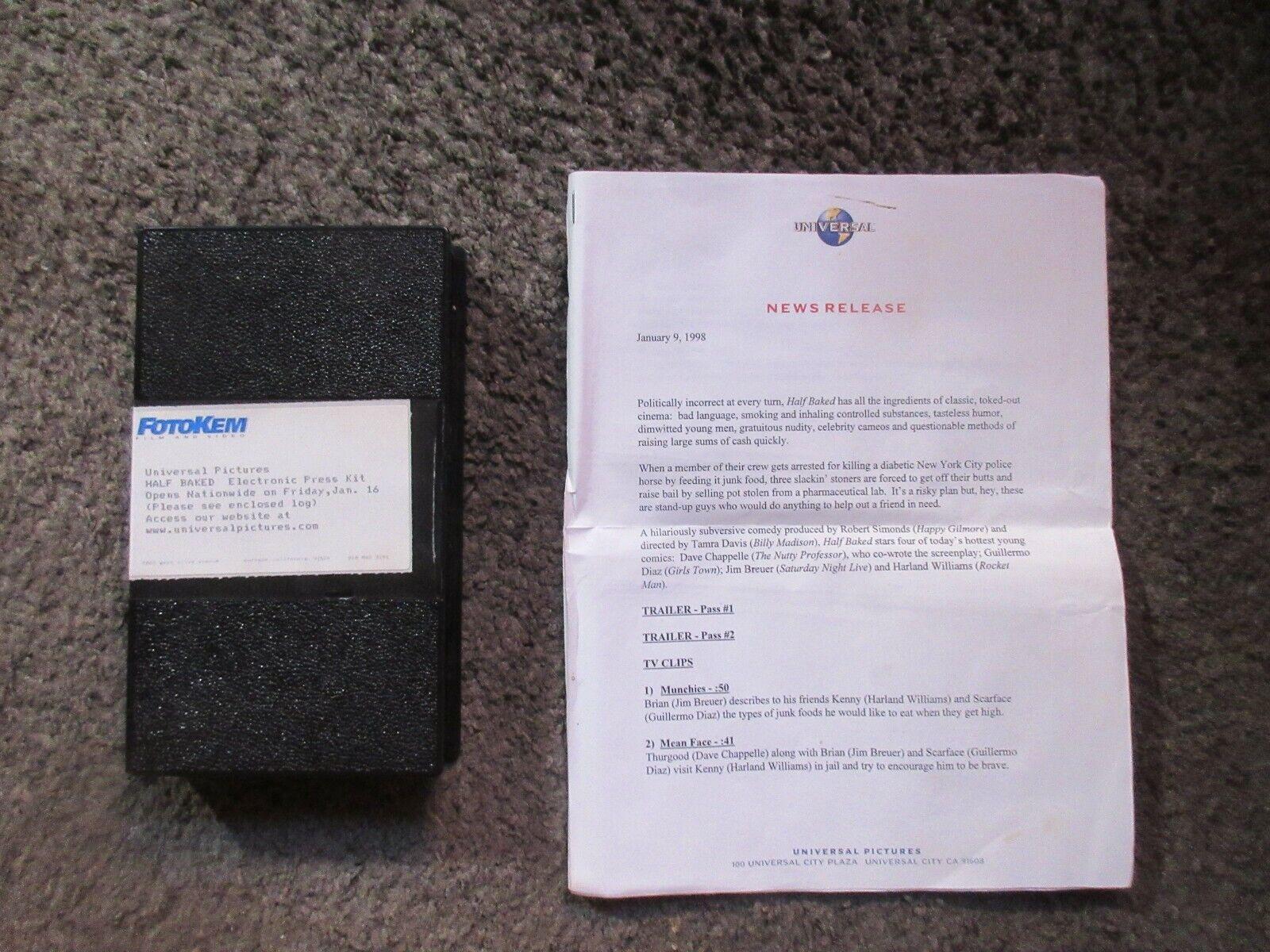 HALF BAKED STONER FILM DAVE CHAPPELLE 1998 UNIVERSAL RARE VHS EPK NOTES - $5.99