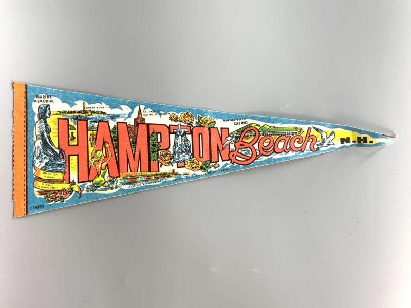 """Vintage Felt Pennant Souvenir Hampton Beach NH 14.5"""""""