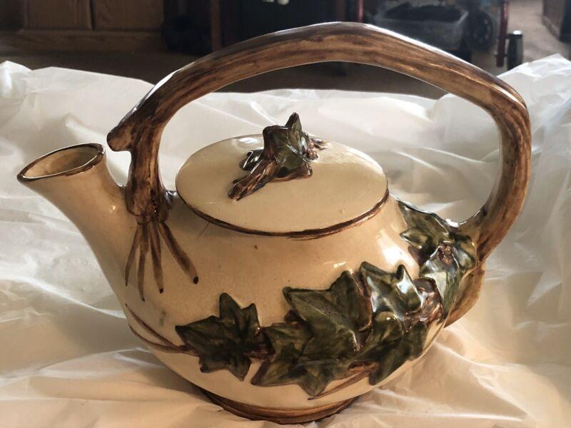 Vintage Mcoy Pottery Ivy Leaf Tea Pot
