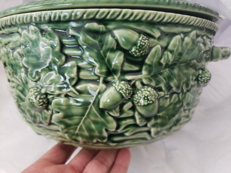 Bordallo Pinheiro Green Acorn Covered Serving Bowl