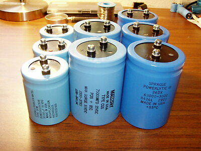 Lot 8 Mallorycdesprague Usa Electrolytic Capacitors 75000uf 30000uf 63000uf