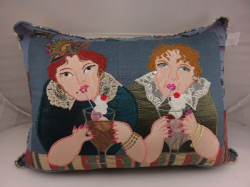 2 LADIES FRIENDSHIP DRINKING Embroidered Pillow With Crystals HANDMADE by PS