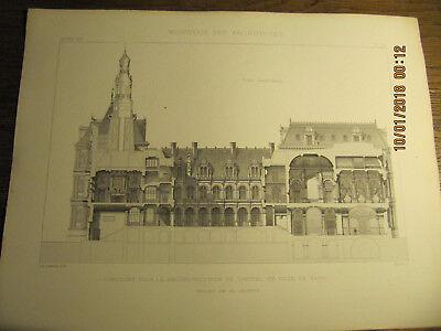 Planche Concours pour la reconstruction de l'Hôtel de Ville de Paris 1875