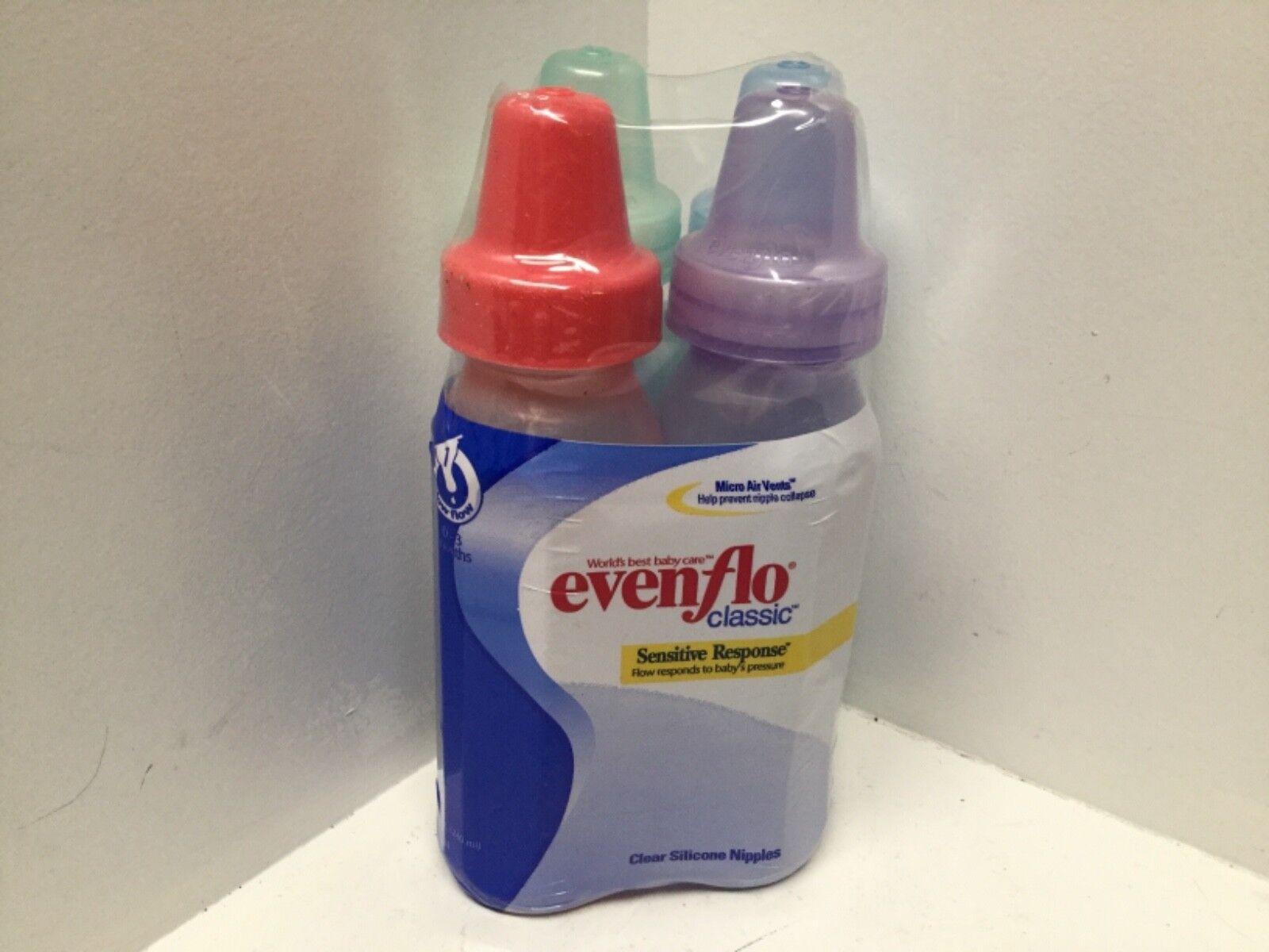 Lot Of 4 Evenflo Classic Baby Bottles 0-3 Months Sensitive R