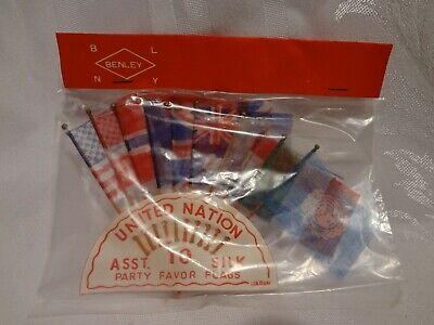 1950s Party Favors (Vintage Miniature UNITED NATIONS SILK FLAGS PARTY FAVORS Japan 1950's NIP)
