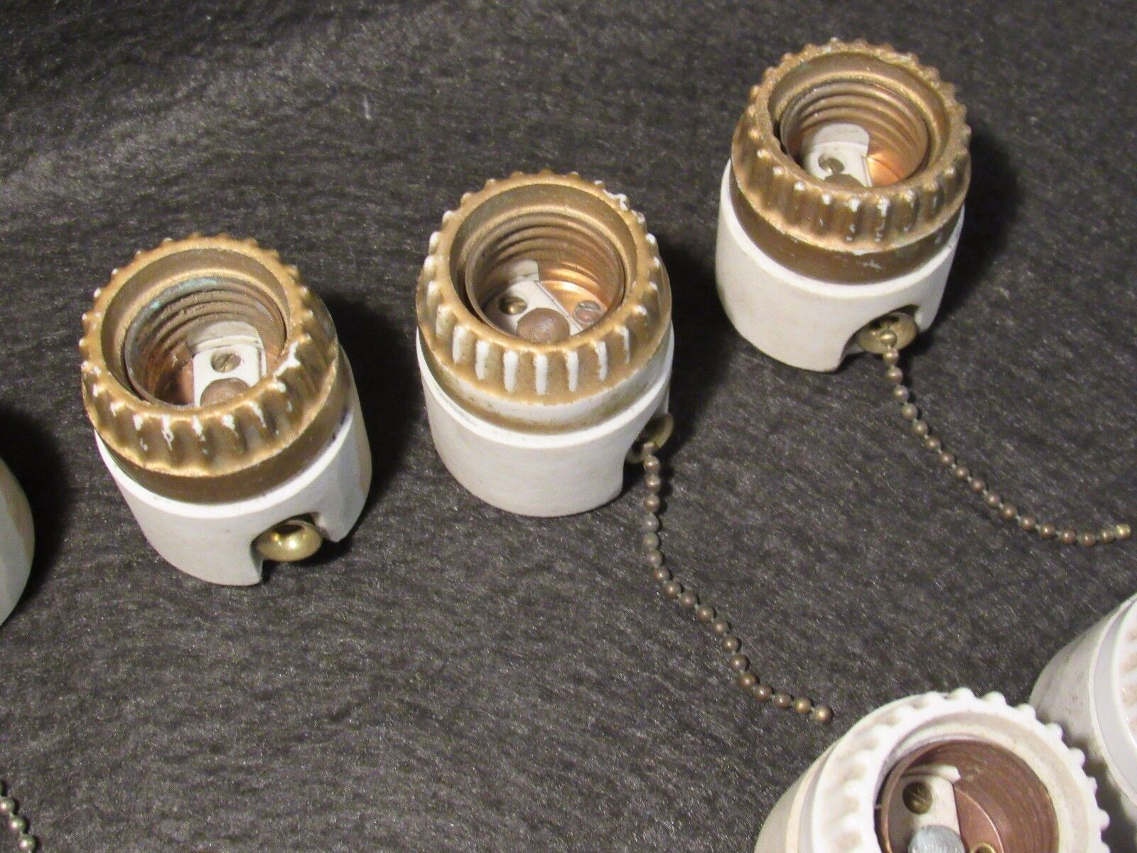 1 Antique Medium Base Two Piece Screw Top Switched Porcelain Light Socket Switch - $20.00