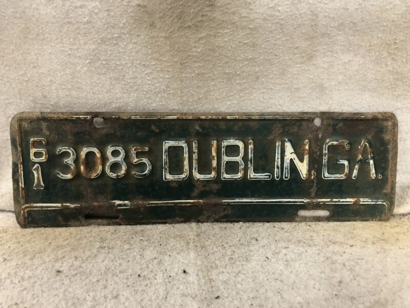 Vintage 1961 Dublin, Georgia License Plate