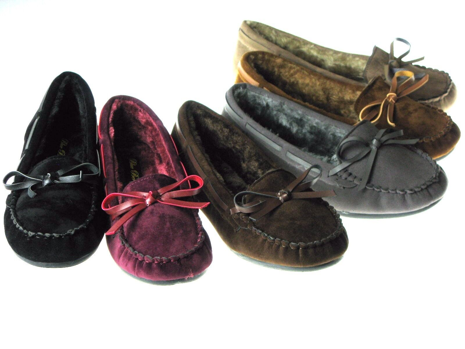 New Womens Moccasins Cushy Faux Fur Slip On Indoor Outdoor