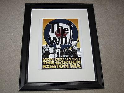 "Framed The Who Boston Concert Mini Poster 12-3-1973, 14""x16.5"" RARE!"