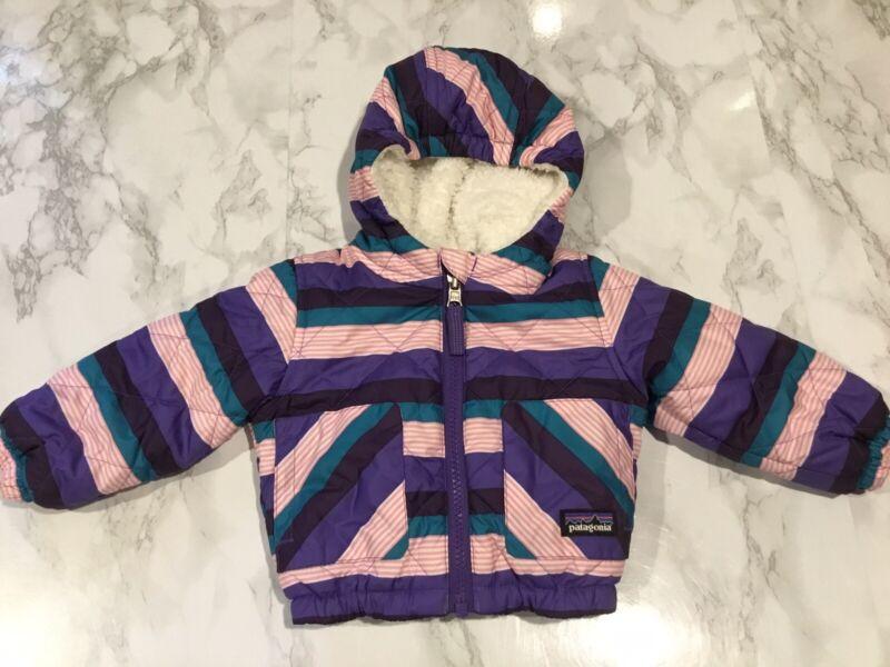 Patagonia Sz 3M Purple Pink Stripe Reversible Coat Jacket 3-6 Months