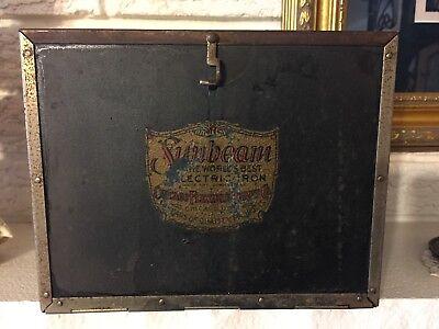 Vintage Sunbeam Electric Iron + trivet + Case Chicago Flexible Shaft Co. C1921