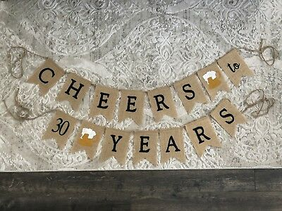 Cheers To 30 Years Burlap Birthday Beer Theme Banner](Beer Themed Decorations)