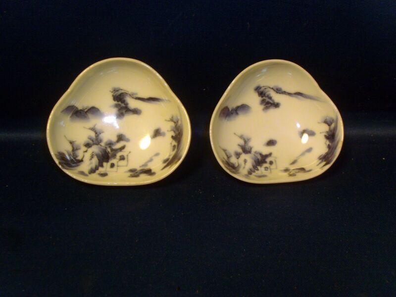 Pair Antique 19th century Japanese Blue & White Porcelain Dishes Bowls Hirado