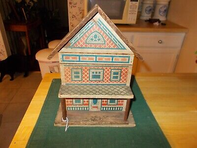EARLY 1900S CONVERSE WOODEN DOLL HOUSE TWO STORY OPENING FRONT WITH TABLE/CHAIR