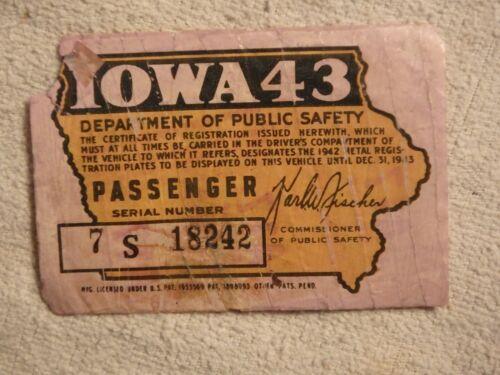 VINTAGE Iowa Department of Public Safety Motor Vehicle Sticker (1943)