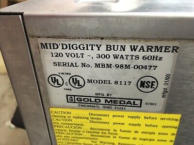 Gold Medal Model 8117 Hot Diggity Hot Dog Bun Warmer 120 Volt See Description