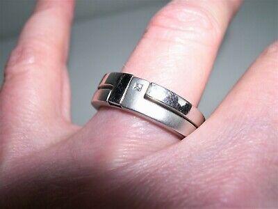 HOT DIAMONDS Sterling Silver~Princess Diamond 2pc Locking Band Ring Set~Sz 8.5