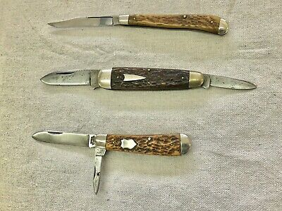 3 Antique/Vintage Pocket Knives- SHAPLEIGH Hdw., A. FIELD & Co. Progress, UTICA