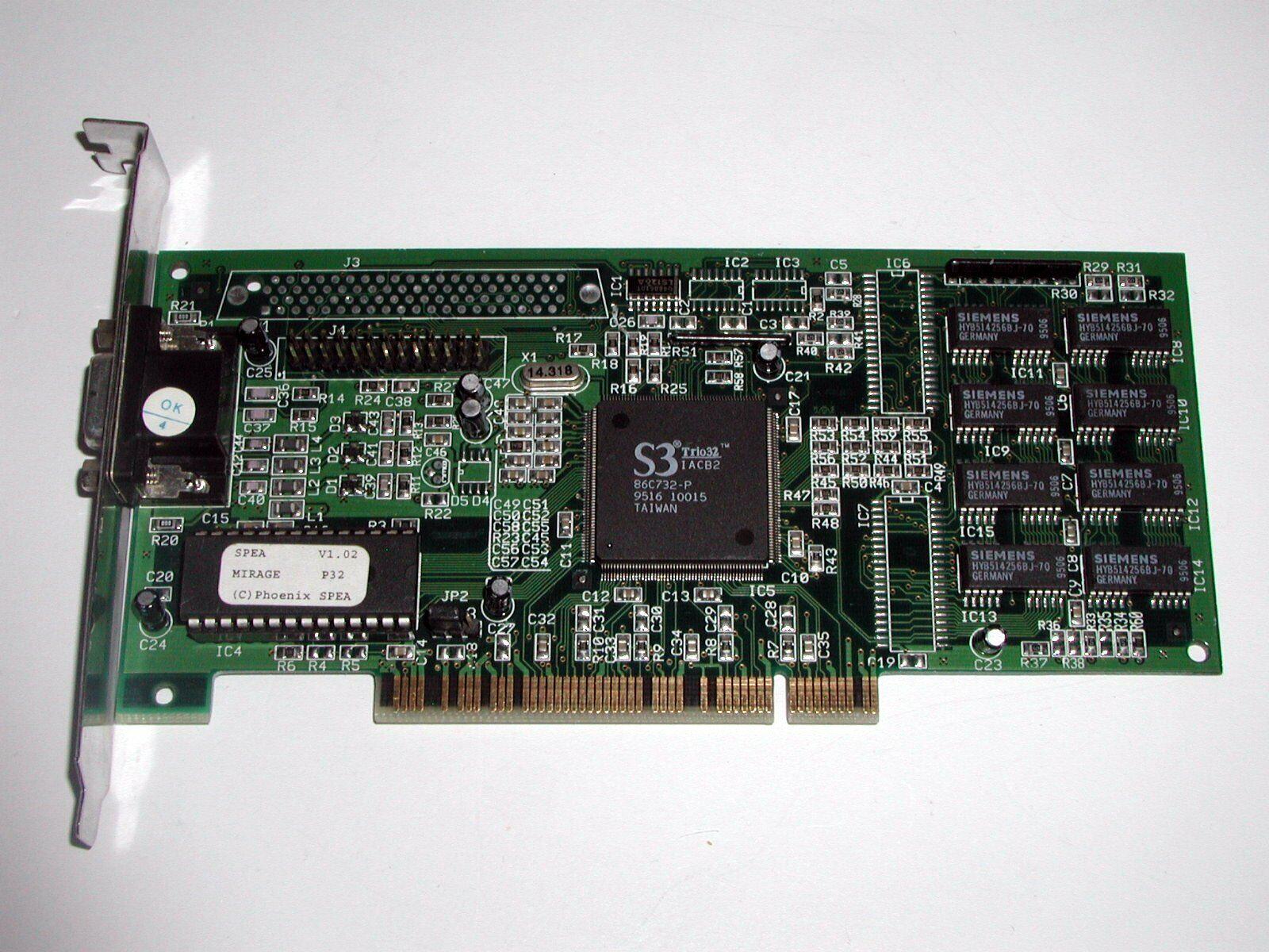 PCI Grafikkarte Spea V7-Mirage P32, S3 Trio32, 1 MB DRAM, VGA, gebraucht