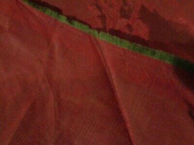 "Maroon / Burgundy & Green Shade Cotton Silk Polyester Fabric 1 Yard & Width 60"""