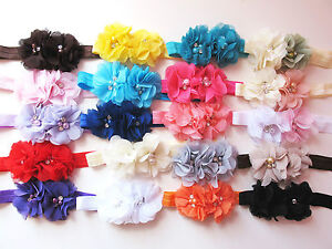 Baby-Girls-Twin-Chiffon-Flower-Hairband-Soft-Elastic-Headband-Hair-Accessories