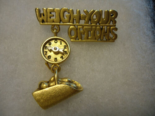 """Danecraft vintage gold tone """"Weigh Your Options"""" scale pin"""
