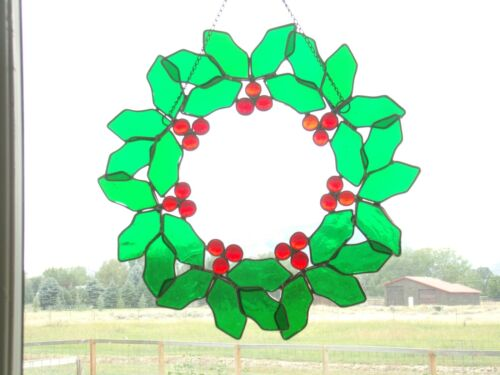 """Vintage Stained Glass Holly Wreath Window Hanger / Sun Catcher Christmas 13"""""""
