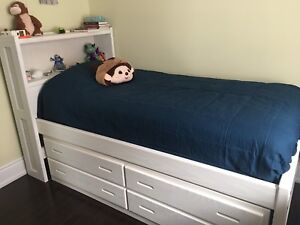 Twin captain bookcase kids bed