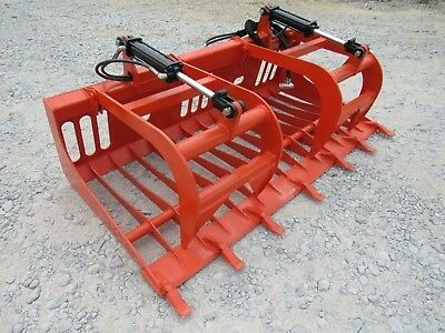 Kubota Skid Steer Tractor Attachment - 72 Rock Bucket Tooth Grapple - Ship 179