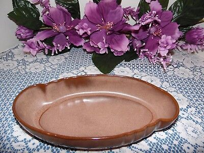 "FRANKOMA POTTERY 11"" BROWN SATIN LOW ORIENTAL BOWL #205 SAPULPA  CLAY"