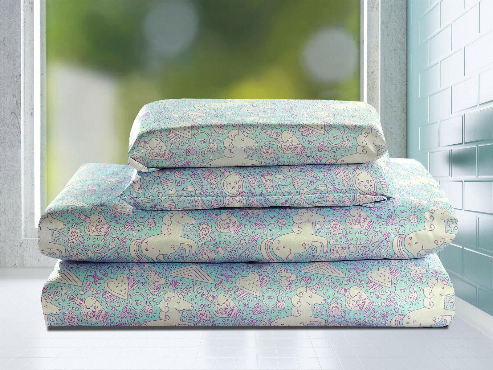 Twin Full or Queen Microfiber Sheet Set Unicorn Hearts Love Bedding, Purple Blue Bedding