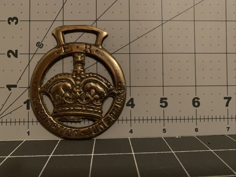 Vtg Brass Horse Medallion Queen Elizabeth II Coronation 1953