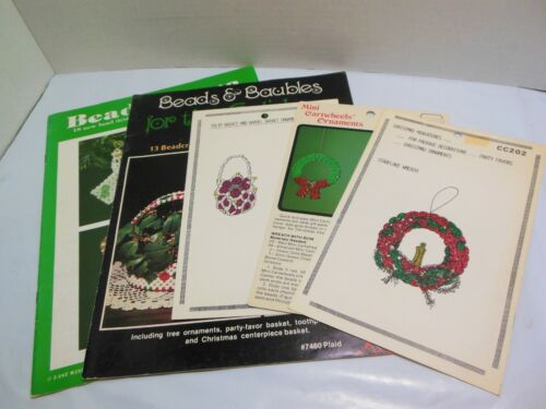 LOT Christmas Holiday Beading Patterns Vintage Beadwork Tree Ornaments And MORE