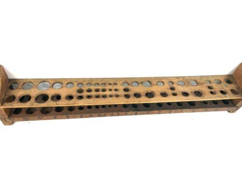 RARE  Antique Primitive Test Tube Holder Wood Rack w/ sizes inscribed- Vintage