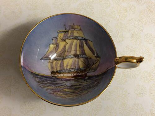*RARE* AYNSLEY CLIPPER SHIP TEACUP.. COBALT BLUE.. SHIP SAILING TOWARDS HANDLE!