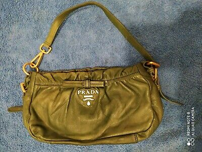 Vintage Original leather Prada Handbag Purse Handle green Womens w/ Dust Bag