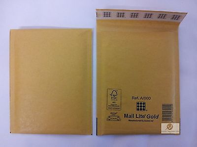 10 A000 A/000 Gold Brown 110x160 mm Padded Bubble Wrap Mail Lite Postal Bag NEW
