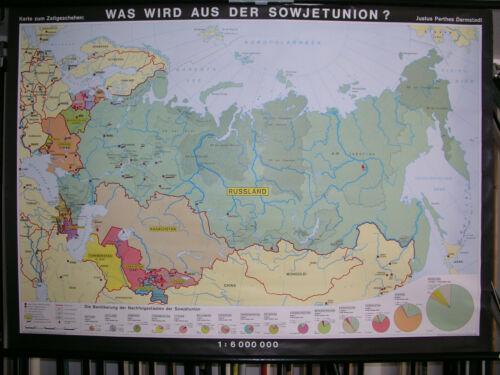 Wall Map Soviet Union Gus Russia Ukraine Atommacht Crimea? 155x111 Vintage~1991